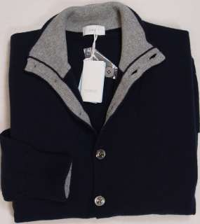 MALO SWEATER $1290 NAVY & GRAY 100%CASHMERE 9 BUTTON LOGO CARDIGAN MED