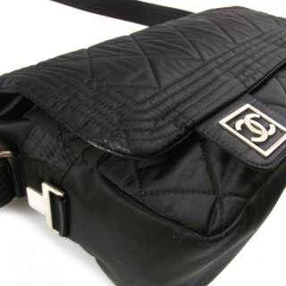 CHANEL Nylon Quilted SKI SPORT Messenger Bag Black CC