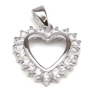 18K White Gold Plated CZ Heart Pend Jewelry