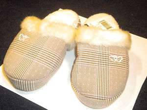 GIRLS BROWN PINK PLAID HEARTS HOUSESHOES SLIPPERS   NWT