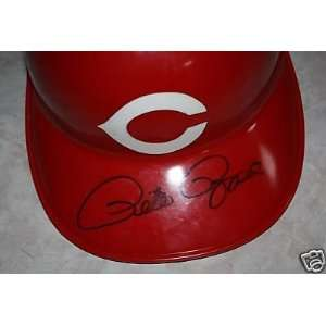 PETE ROSE Autograph Signed Batting Helmet COA x