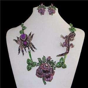 Spider Gecko Flower Necklace Earring Set Purple Swarovski Crystal Leaf