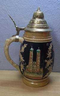 Vintage German Munich Souvenir Lidded Beer Stein #E