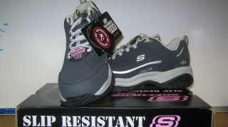 NIB Womens Skechers Steel Toe Tennis Shoe Navy sizes 6 thru 10
