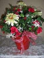 MINIATURE RED ROSE CHRISTMAS FLORAL ARRANGEMENT
