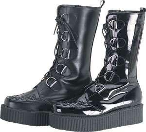 Rare Demonia Punk Leather Creeper Boots Goth Mens 5