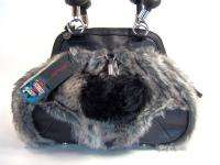 Ed Hardy Black Faux Fur Pep Rally Handbag Satchel Bag NWT $210 FLAW