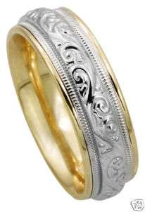 14K Two Tone Gold Paisley Carved Wedding Band Men Women