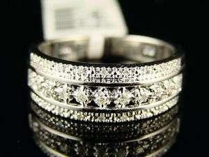 NEW LADIES 1 ROW WHITE GOLD FINISH DIAMOND WEDDING BAND RING
