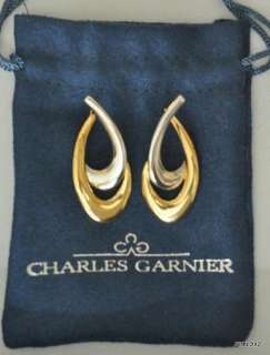 GARNIER 18K Yellow & White Gold Double Link Design Hoop Earrings