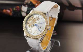 Luxury Diamonds Women Watch White Leather Automatic New
