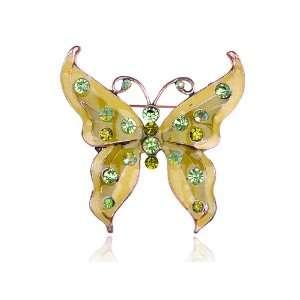 Enamel Lemon Lime Peridot AB Green Crystal Rhinestone Butterfly