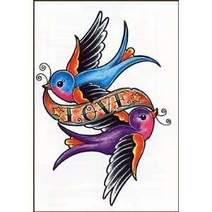 Sparrow W/Love Banner Temporaray Tattoo: Toys & Games
