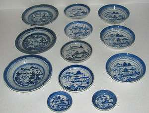 12 PIECE ANTIQUE CHINESE BLUE & WHITE CANTON COLLECTION