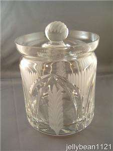 Cut Crystal Biscuit Jar / Large Cut Crystal Covered Jar