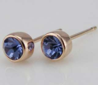4mm CZ purple swarovski 18K rose gold GF stud EARRINGS wedding