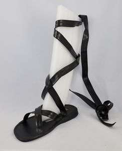 Mens Black or Brown Roman Gladiator Sandals Size 8 14