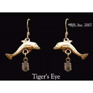 Dolphin Gemstone Earrings, 14k Yellow Gold, Tigers Eye set gemstone