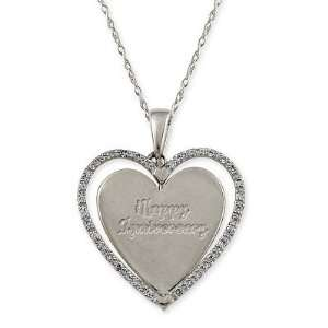 14K White or Yellow Gold Diamond Heart Pendant w/ Chain Jewelry