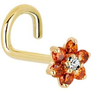 and Clear Cubic Zirconia Flower Left Nostril Screw   18 Gauge Jewelry