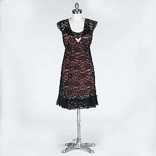 Neck Cap Sleeve Lace Dress  Volume One Clothing Juniors Dresses