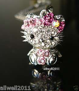 MINI 3D Hello Kitty Necklace Crystal Bling Rhinestone Cute