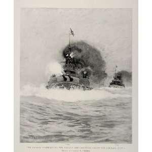 1899 Print Spanish American War Battle Battleship Guns