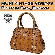 Brand New Authentic MCM Vintage VISETOS Boston Bag Medium NWT_Cognac