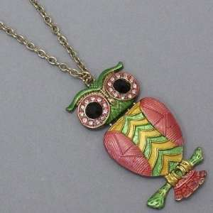 Womens Owl Necklace, 1 1/2 X 2 3/4, Green / Pink / Gold