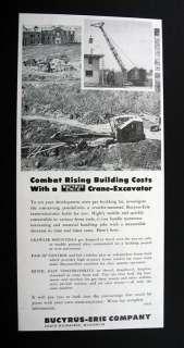 Bucyrus Erie Crane Excavator crawler mounted 1953 Ad