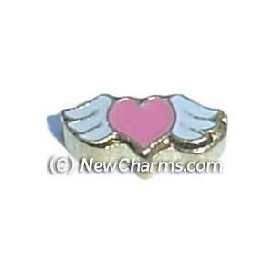 Heart With Wings Floating Locket Charm Jewelry