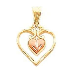 14K Two Tone Gold Diamond Cut Double Heart Pendant Jewelry