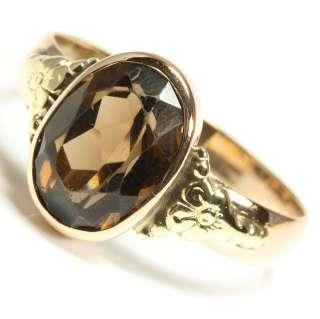 8kt 333 Damen Gold Ring Roségold Rauchtopas Topas Rauchquarz