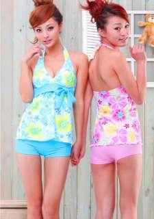 Women Flower Tankini Swimwear Bathing Swimsuit Short pY