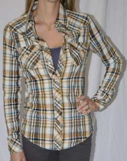 Religion Plaid Flannel Western Snap Front Collared Shirt S Cimarron
