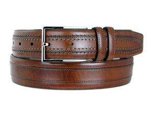 Mezlan Mens HAND ANTIQUED Cognac Brown Lthr Belt AO8595