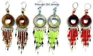 10 THREAD EARRINGS NEW PERU ARTISAN JEWELRY PERUVIAN