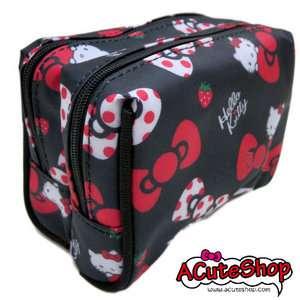 Hello Kitty Cosmetic Bag Double Zipper Pouch Dot Bow Black Sanrio