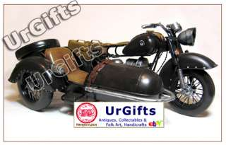 Vintage Hand Made Art Bar Decor Model Motorcycle w/ Sidecar BMW R71