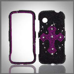 Pink Cross on Black Cristalina crystal bling rhinestone diamond case