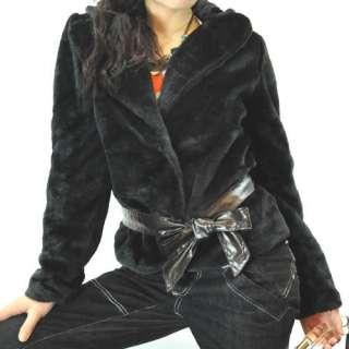 3mu Designer Womens Jacet Coat Shirt Top Faux Fur Black/White S M L