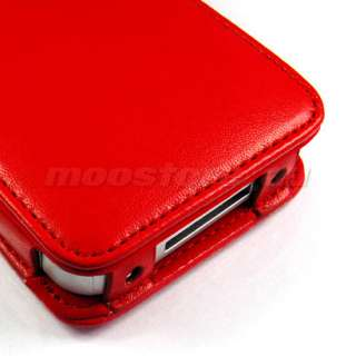 FLIP LEATHER CASE COVER + SCREEN FOR IPHONE 4 4G RED