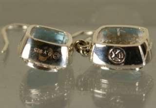 David Yurman 925 Sterling Silver blue Topaz & Diamonds Earrings