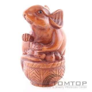 Hand Carved Boxwood Wood Netsuke Mouse Basket NBC065