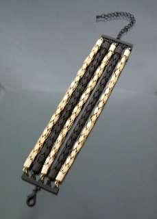 Designer Inspired 2Tone Mixed Mesh Chain Bracelet Mat Black and Gold