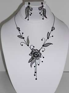 BLACK CRYSTAL WEDDING PROM NECKLACE AND EARRING SET