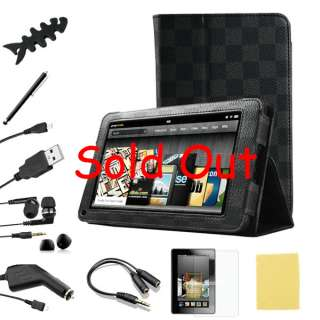 For Kindle Fire PU leather Case Cover/Car Charger/USB Cable/Stylus/Ea