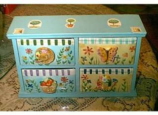 WOODEN PORCELAIN BUTTERFLY GARDEN TABLE TOP DRAWER UNIT