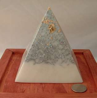 Large Orgone Pyramid White Chi EMF Gold Crown Chakra