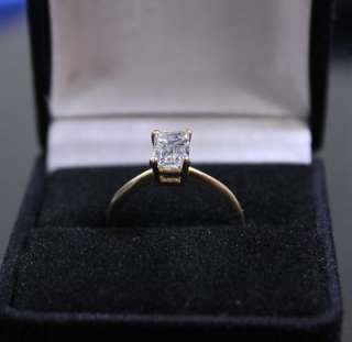01 CT F IS2 Emerald Cut Diamond 14k Yellow Gold Ring Size 6.5